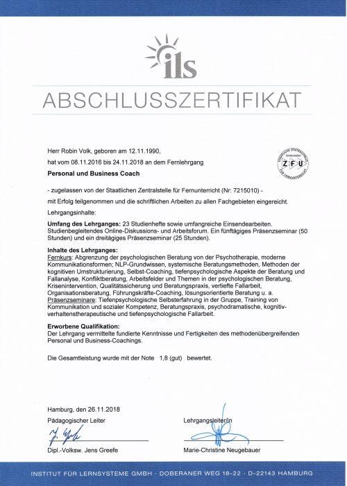 Abschlusszertifikat zum Personal & Businesscoach 2016 -2018